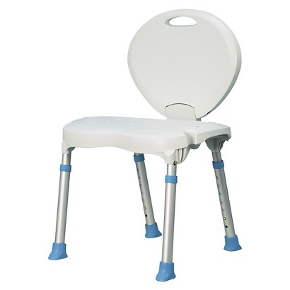 AquaSense Folding Bath and Shower Chair with Non Slip Seat & Backrest - White