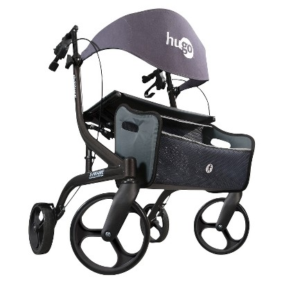 Hugo Explore Side-Fold Rollator Walker with Seat, Backrest and Folding Basket