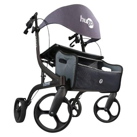Hugo Explore Side-Fold Rollator Walker with Seat, Backrest and Folding Basket
