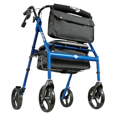 Hugo Elite Rolling Walker with Seat, Backrest, and Saddle Bag - Blue