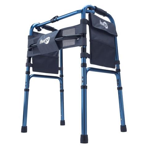 Hugo Adjustable Folding Walker with Bonus Wheels & Plastic Glides - Sapphire Blue