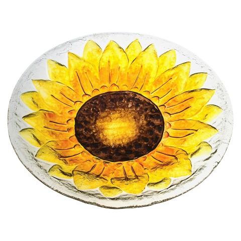 Sunflower Glass Birdbath