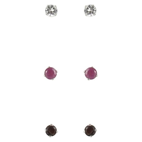 Sterling Silver Boxed Trio Gemstone Stud Earrings - Multicolor