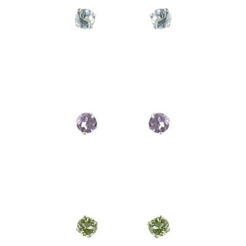 Sterling Silver Boxed Trio Gemstone Stud Earrings -Multicolor