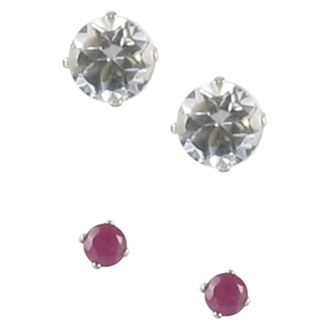 Sterling Silver Boxed Duo Gemstone Stud Earrings - Multicolor
