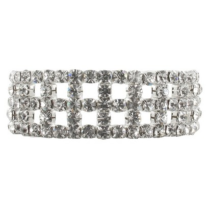 Five Row Cut Out Pave Rhinestone Stretch Bracelet- Silver/Clear