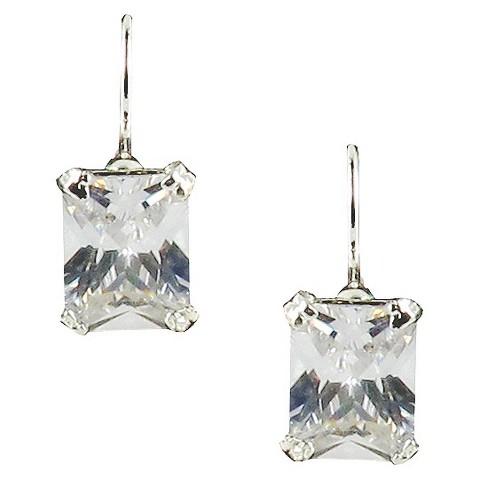 Rectangle Drop Crystal Leaverback Earrings- Silver/Clear