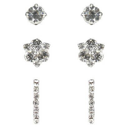 Trio Rhinestone Stud, Cluster & Half Hoop Post Earrings -Silver/Clear