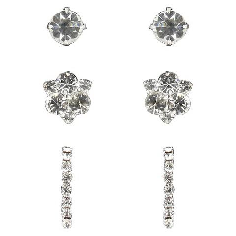 Trio Rhinestone Stud, Cluster & Half Hoop Post Earrings -Silver/Clear