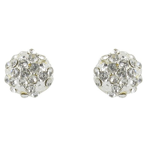 Round Pave Fireball Rhinestone Post Earrings- Silver/Clear