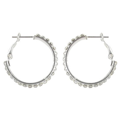 Double Rows Rhinestone Clutchless Hoop Earrings- Silver/Clear