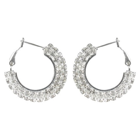 One Side Rhinestone Clutchless Hoop Earrings- Silver/Clear