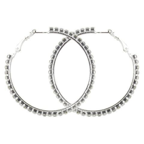 Medium Rhinestone Clutchless Hoop Earrings- Silver/Clear