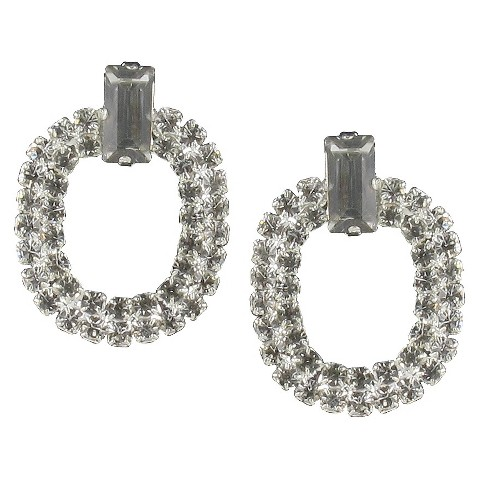 Oval Baguette Rhinestone Post Earrings - Silver/Clear