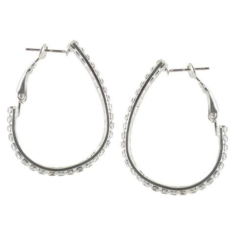 Double Rows Teardrop Rhinestone Clutchless Hoop Earrings- Silver/Clear