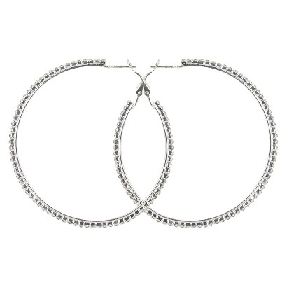 Large Thin Rhinestone Clutchless Hoop Earrings- Silver/Clear