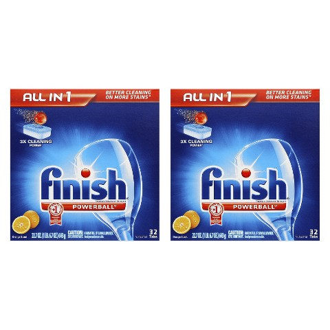 Finish Powerball Tabs Dishwasher Detergent Tablets, Orange Scent, 32 Count