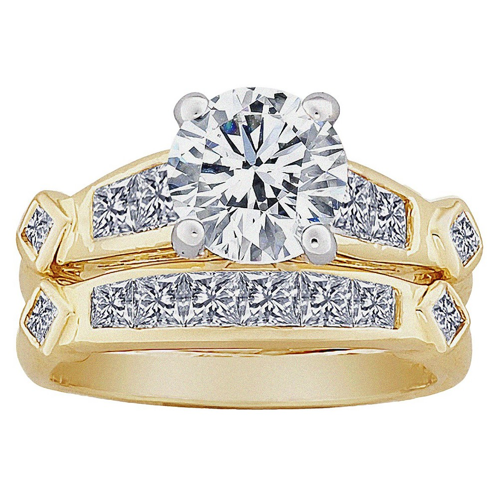 2-Piece Round and Square CZ Wedding Ring Set - Two-Tone, Women's, Size: 6, Gold