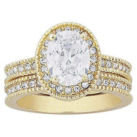 Vintage 2-Piece Oval Cut Cubic Zirconia Wedding Ring Set