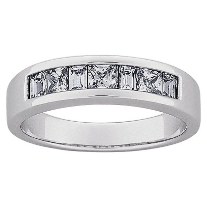 Square & Baguette Cubic Zirconia Wedding Band in Sterling Silver