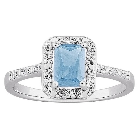 Genuine Blue Topaz And Cubic Zirconia Ring in Sterling Plus Platinum over Sterling Silver