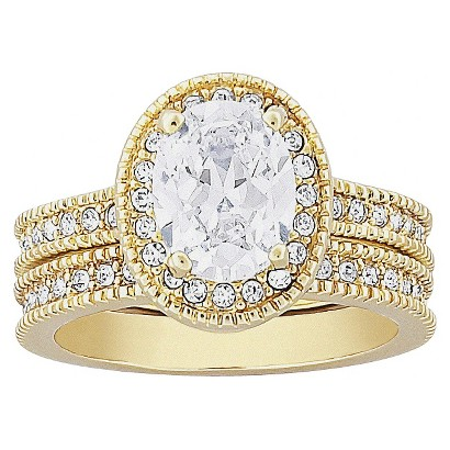 Vintage 2 Piece Cubic Zirconia Wedding Ring Set