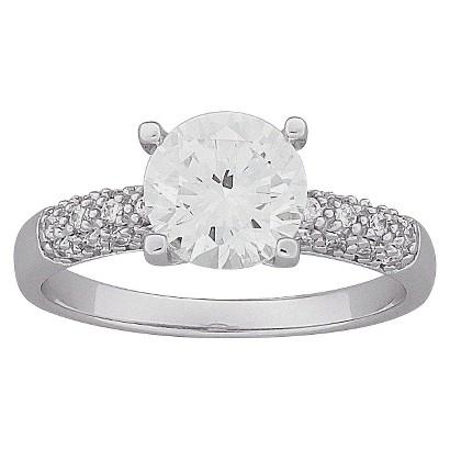 Brilliant Round Cubic Zirconia Engagement Ring