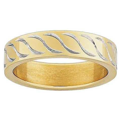 Stainless Steel Flat Patterned Band - Gold