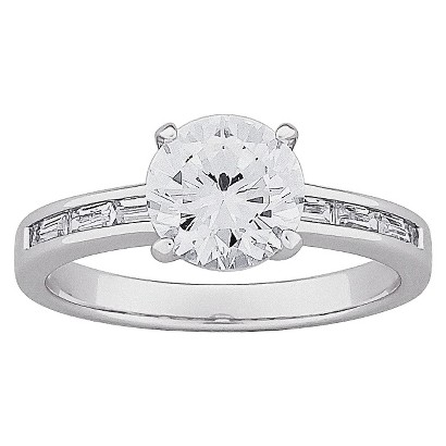 Brilliant Cubic Zirconia & Baguette Engagement Ring