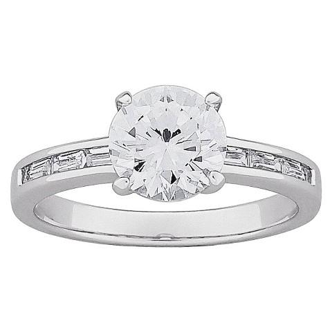 Brilliant Cubic Zirconia & Baguette Engagement Ring
