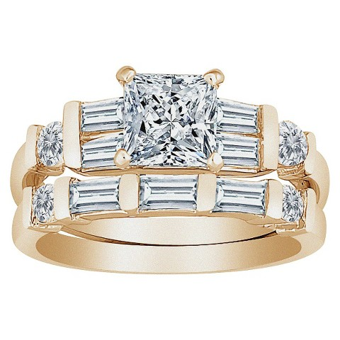 Gold Plated Sterling Silver Wedding Ring Set