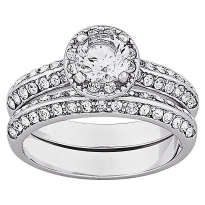 Vintage Brilliant Cubic Zirconia & Inlaid Crystal 2-Piece Wedding Ring Set