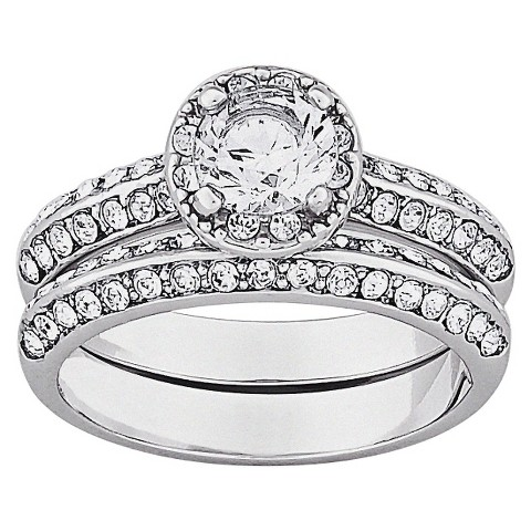 Vintage Brilliant Cubic Zirconia & Inlaid Crystal 2-Piece Wedding Ring Set