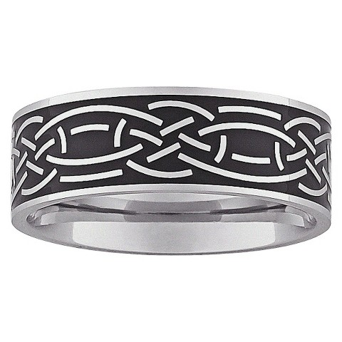 Stainless Steel Celtic Engraved Band - Black/Silver