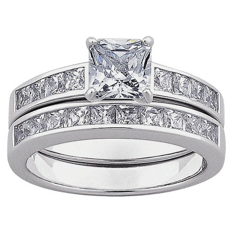 Square Cubic Zirconia 2 Piece Wedding Ring Set in Sterling Silver