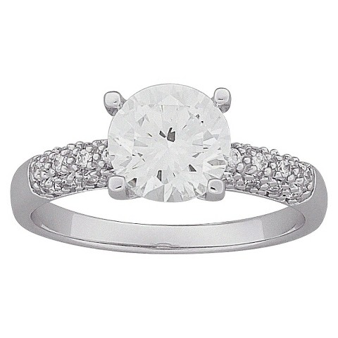 Brilliant Round Cubic Zirconia Engagement Ring