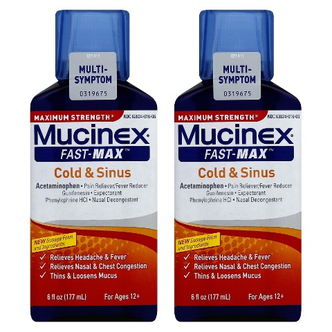 Mucinex® Maximum Strength Fast-Max™ Cold and Sinus Syrup - 2 Count (6 oz)