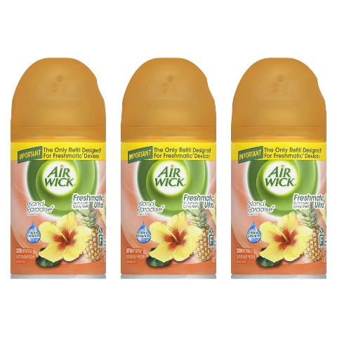 Air Wick Freshmatic Ultra Automatic Spray Refill Island Paradise Scent 6.17 oz 3 ct