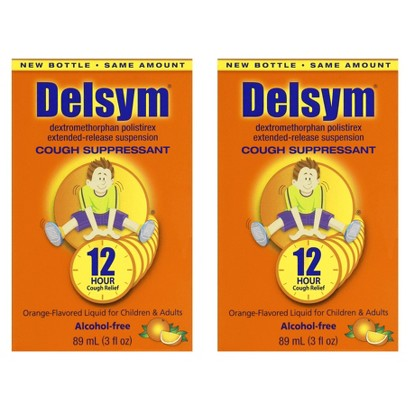 Delsym® Cough  Suppressant Orange Liquid for Children and Adults - 2 Count (3 oz each)