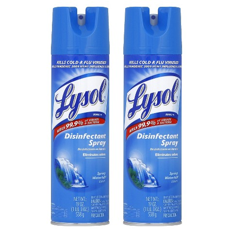 LYSOL Disinfectant Spray - SPRING WATERFALL,  19 Ounces,  2 Pack
