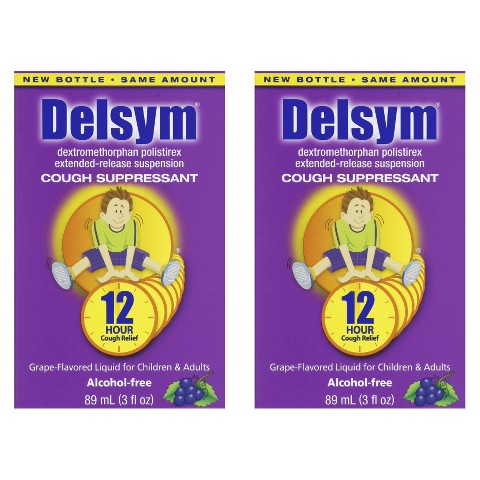 Delsym® Cough  Suppressant Grape Liquid for Children And Adults - 2 Count (3 oz each)