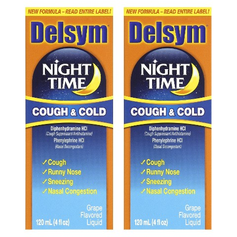 Delsym® Night Time Cough and Cold Grape Liquid - 2 Count (4 oz each)