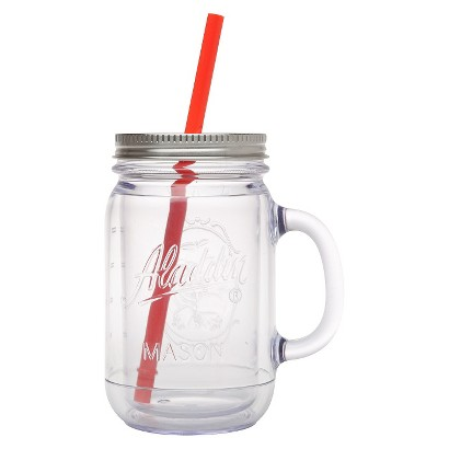 Aladdin Double-Walled Plastic Mason Jar - Orange (20 oz)