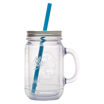 ALADDIN DOUBLE-WALLED PLASTIC MASON JAR - BLUE (20 OZ)