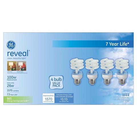 GE Reveal 100-Watt CFL Light Bulb (4-Pack)