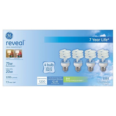 GE Reveal 75-Watt CFL Light Bulb (4-Pack)