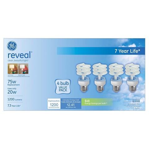 GE Reveal 75-Watt CFL Light Bulb (4-Pack)
