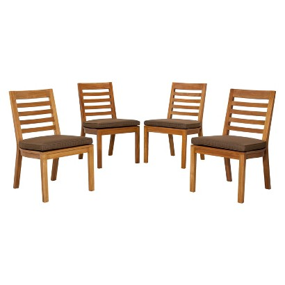 Smith & Hawken® Brooks Island 4-Piece Wood Patio Armless Dining Chair Set