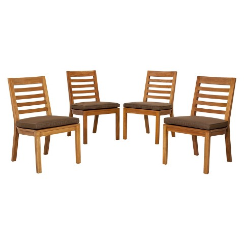 Brooks Island 4-Piece Wood Patio Armless Dining Chair Set - Smith & Hawken™