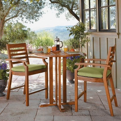 Smith & Hawken® Brooks Island 3-Piece Wood Patio Bar Height Bistro Furniture Set